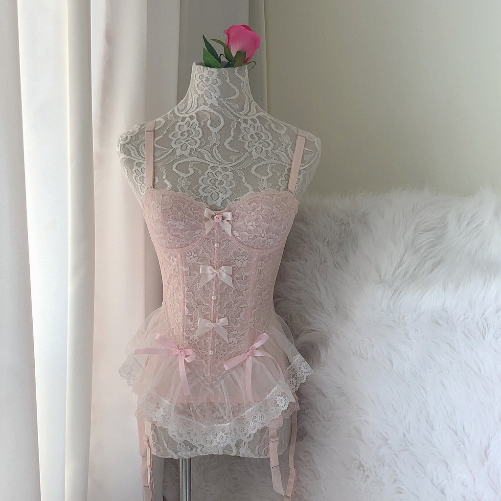 Faded Sakura Doll Handmade Lace Body Corset - Peiliee Shop
