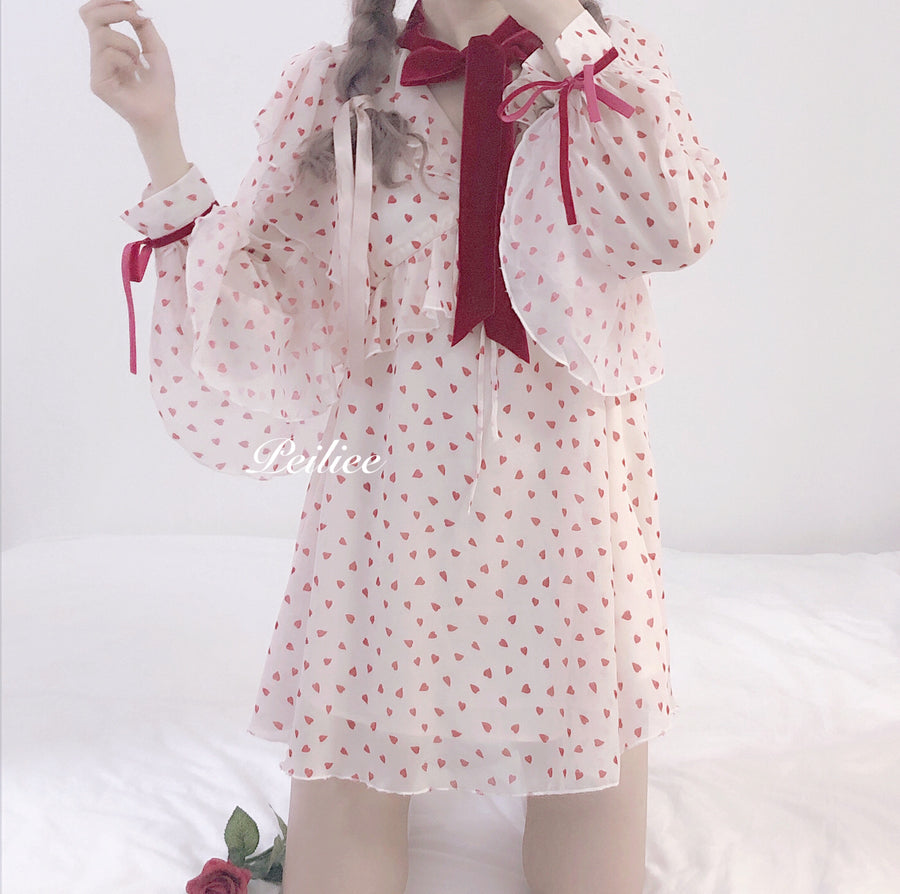 Christmas Sweetheart Dolly Ribbon Chiffon Dress - Peiliee Shop