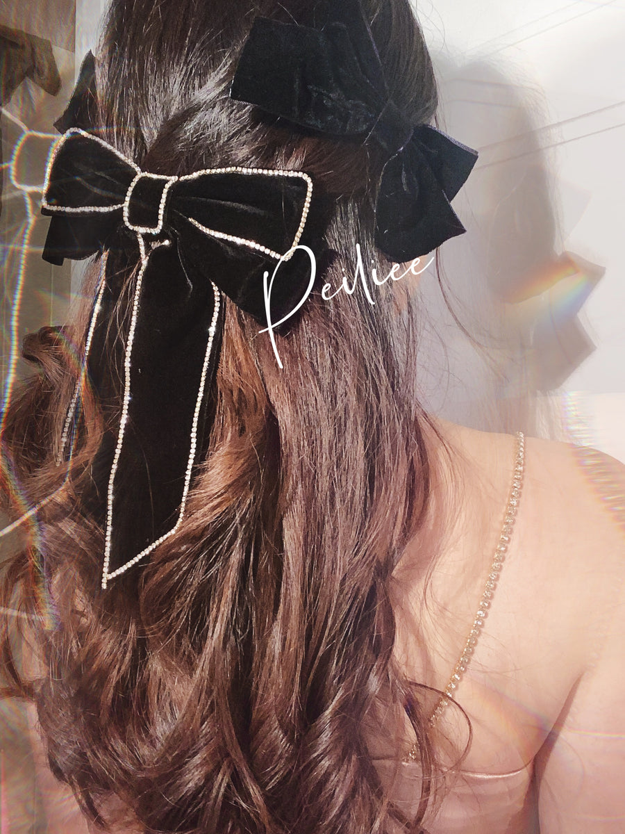 Paris Night Baroque Style Big Velvet Ribbon Hairpin - Peiliee Shop