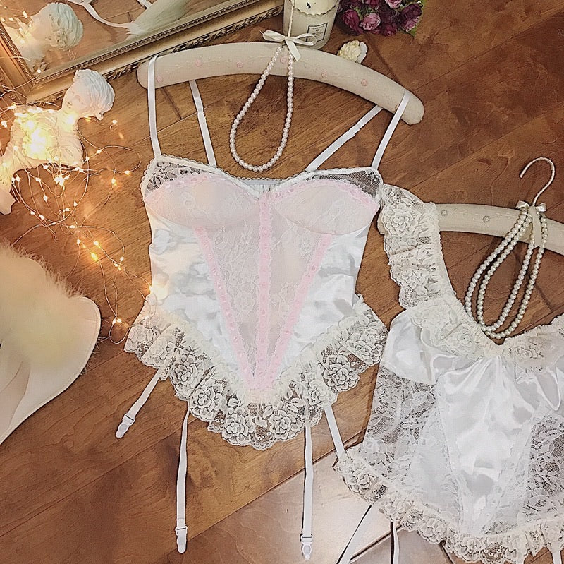 A Night In Paris Pink Vintage Lingerie Body - Peiliee Shop