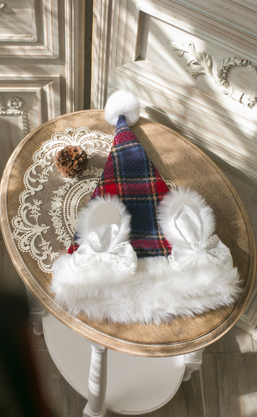 [2020 Version] The Sparkle Time Of The Year - Bun Bun Ear Pom Pom Faux Fur Christmas Hat