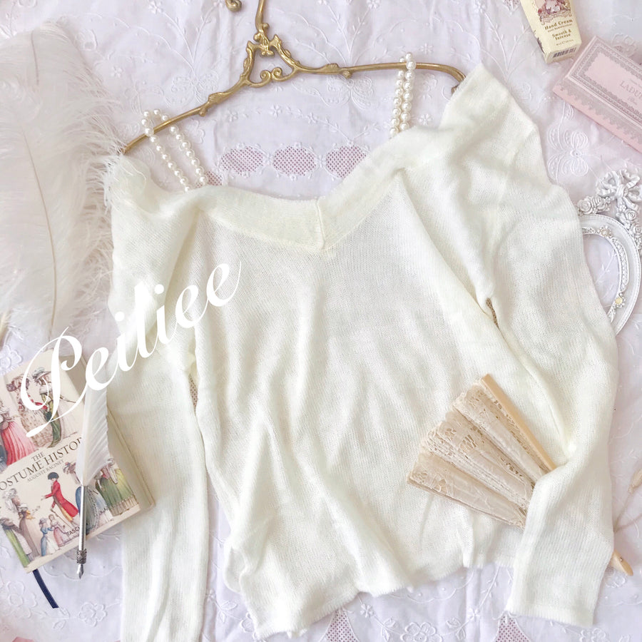For love and peace pearly off-shoulder knitwear - Peiliee Shop