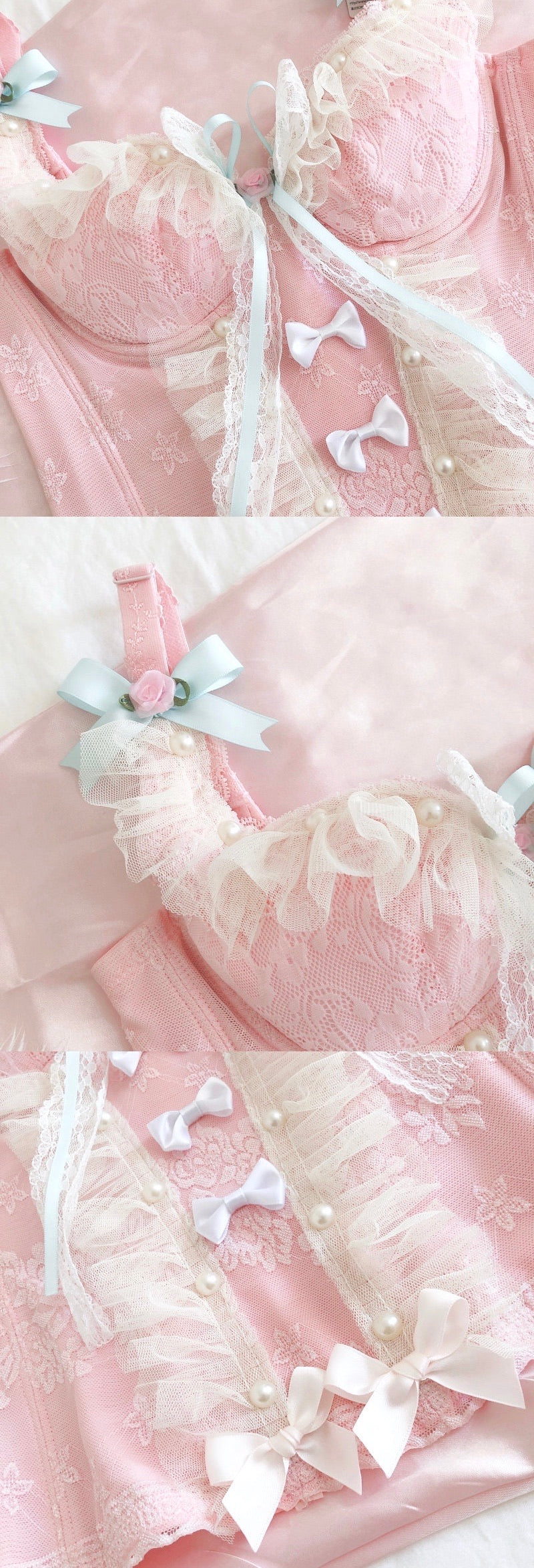 [Only 1 Made] Cloudy Rose Lace Handmade Corset - Peiliee Shop