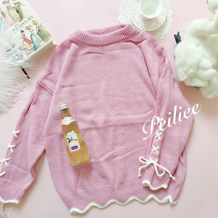 Taro Milk Tea Sweet Babydoll Sweater Knitwear - Peiliee Shop
