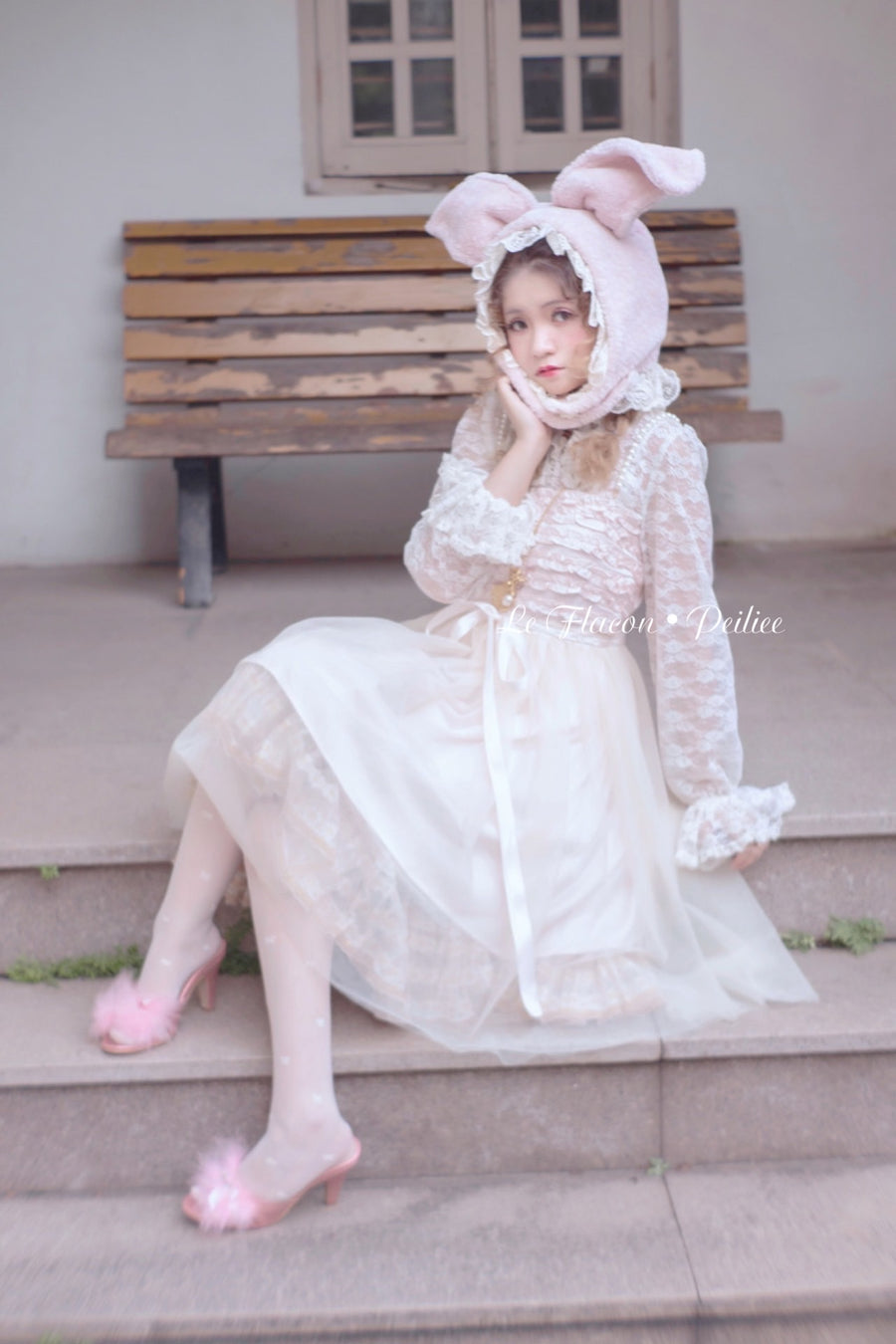 [Premium Selected] Limited Edition Le Flacon First Love Rose Lace Vintage Dress - Peiliee Shop