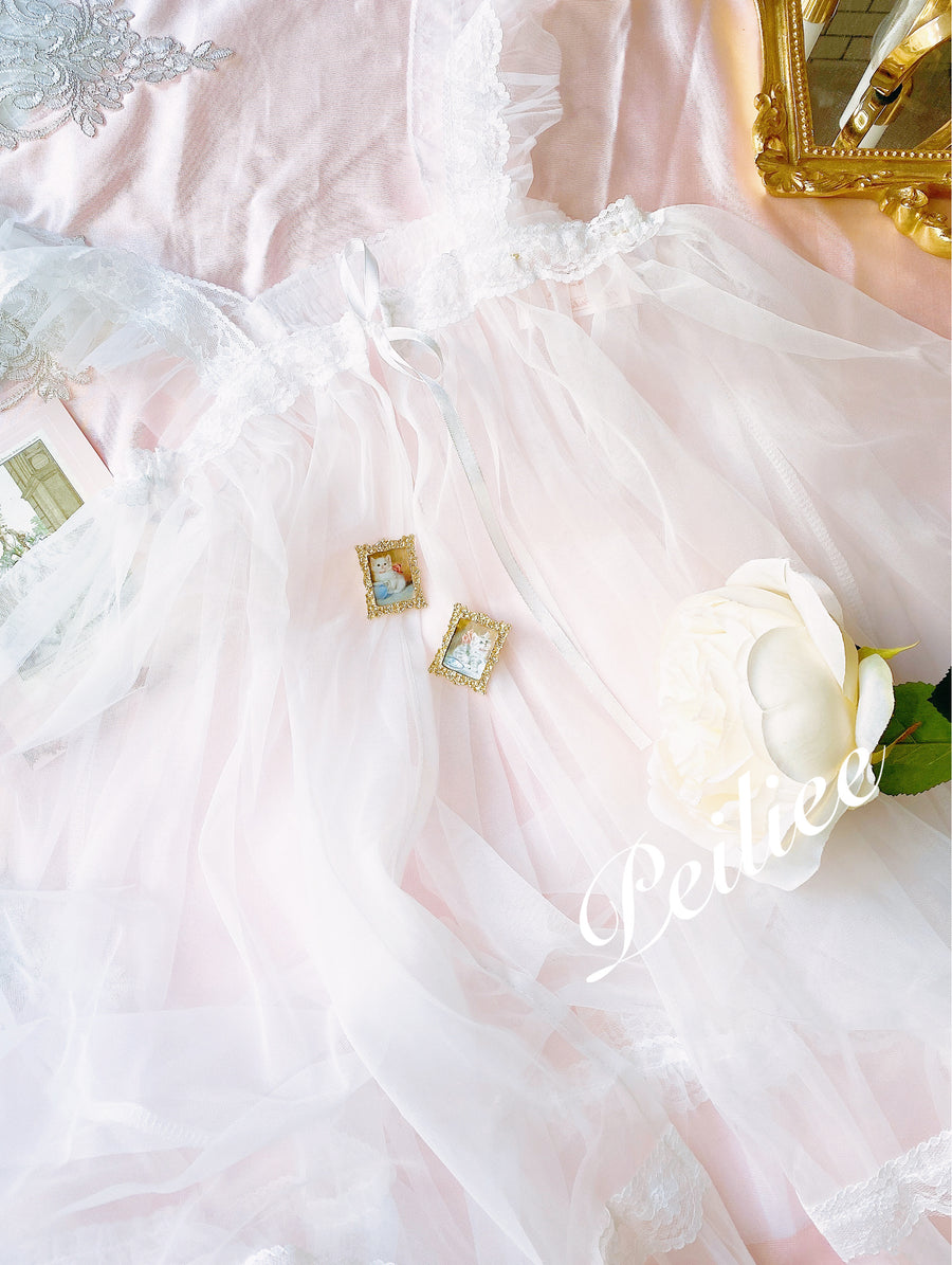 [1 month pre-order] Angel Shell Lace Simple Apron - Peiliee Shop