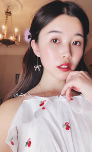 Lady Peiliee Vintage Pearl Shine Ribbon Earring - Peiliee Shop