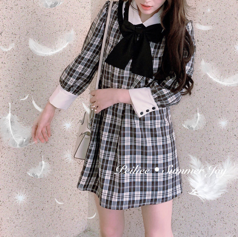 On the other side of the moon gingham dress - Peiliee Shop
