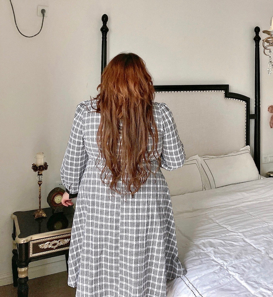 [Curve Beauty] Elegant Lady Autumn Gingham Dress