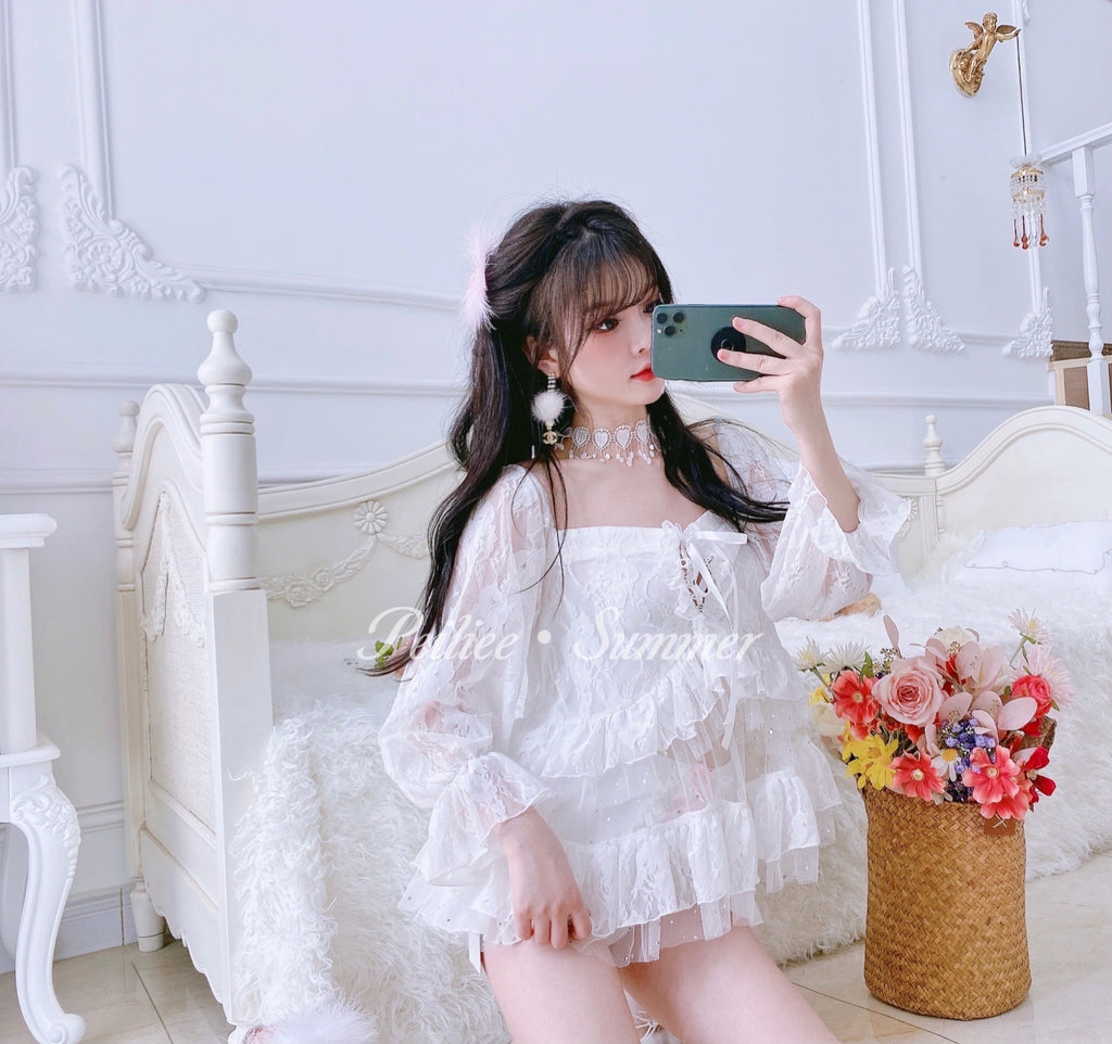 [Premium Selected] Lace Doll Shirt - Peiliee Shop