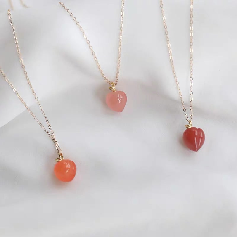Puii Puii Crystal Peach Stone 14k Gold Plating Necklace - Peiliee Shop