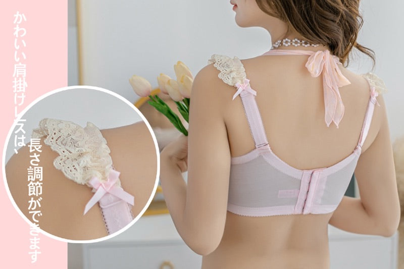 (Curve size included) Peach Bae Soft Pink Dots Bra Set [Premium Selected Japanese Brand] - Peiliee Shop