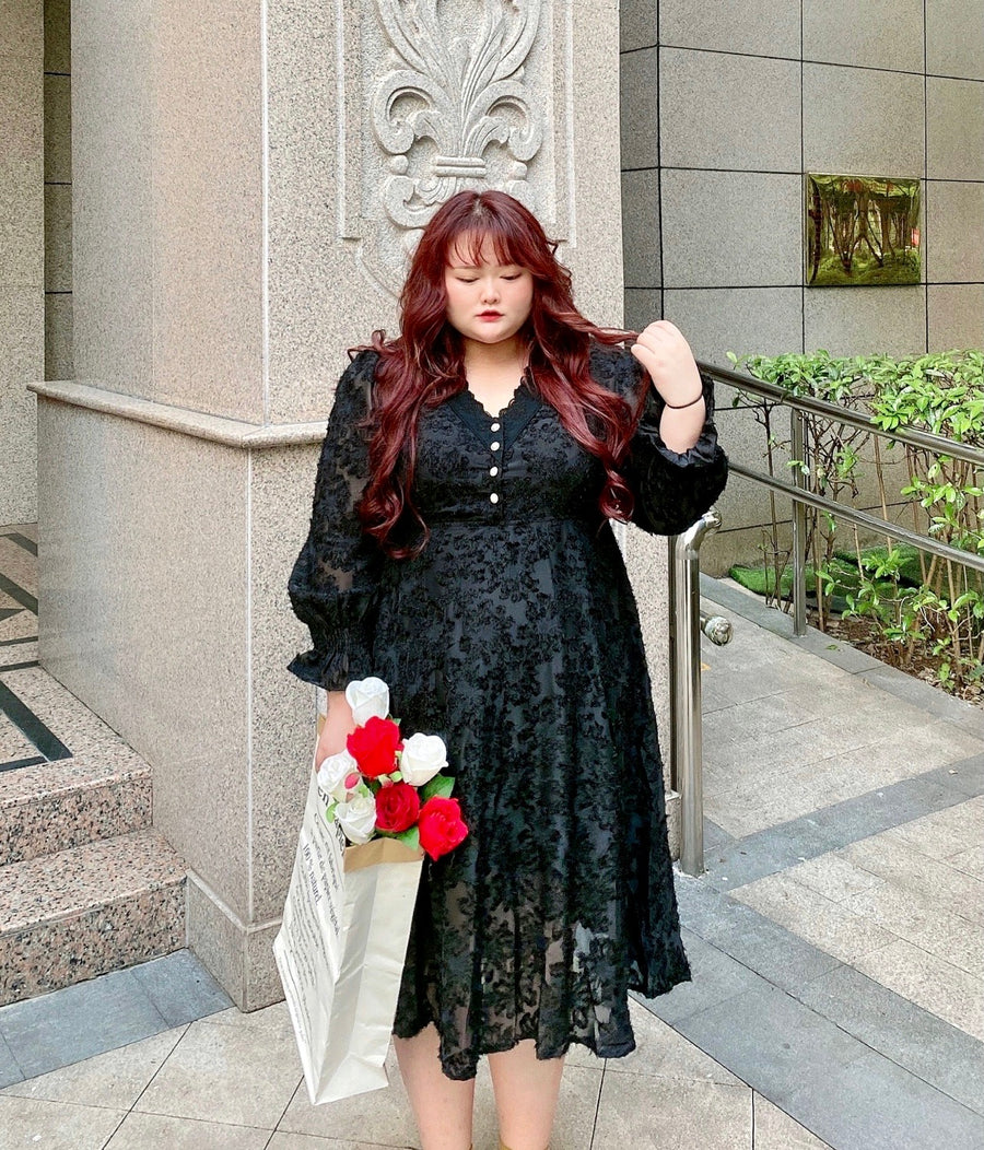 [Curve Beauty] Lace Dream Autumn Dress