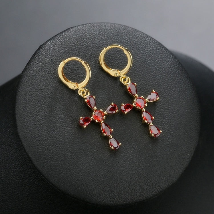 Saint Rose Crystal Cross Earring - Peiliee Shop