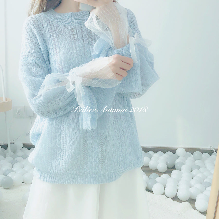 Book Of Angels Double Layer Lace Sweater - Peiliee Shop