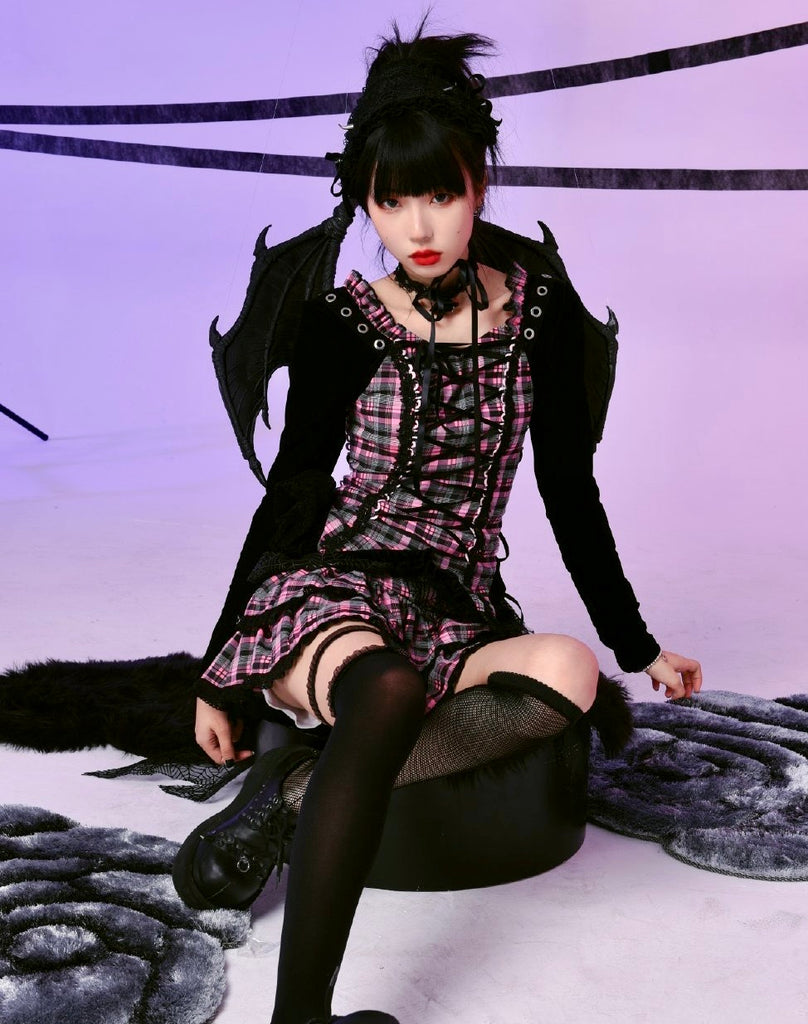 [Evil Tooth] Evil Flowery Girl Punk Dress Set - Peiliee Shop