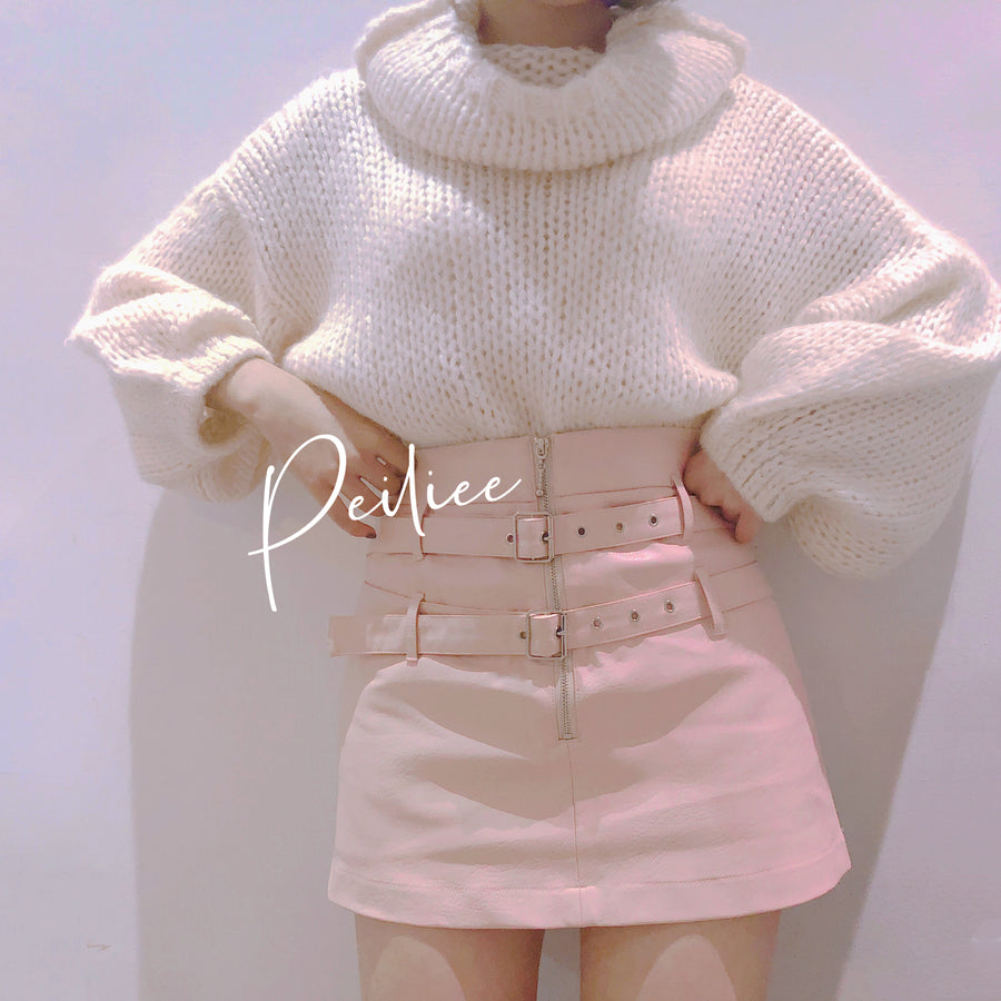 [Nakiss Official] Dolly Mood PU leather Skirt
