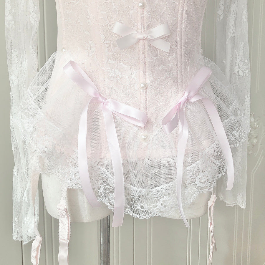 [More Sizes] Faded Sakura Doll Handmade Lace Body Corset - Peiliee Shop