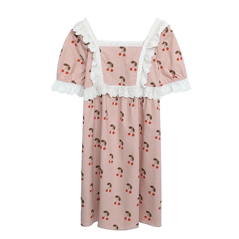 [Curve Beauty] Cherry Lace Lounge Wear Dress Set - Peiliee Shop