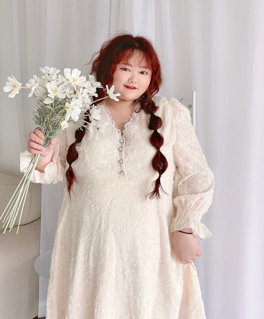 [Curve Beauty] Lace Dream Autumn Dress - Peiliee Shop
