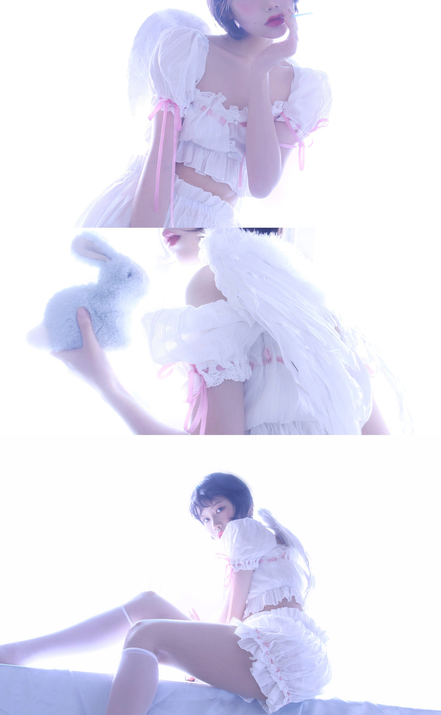 [Premium Selected] Shy Rose Angelic Babydoll Set (designer Arilf) - Peiliee Shop