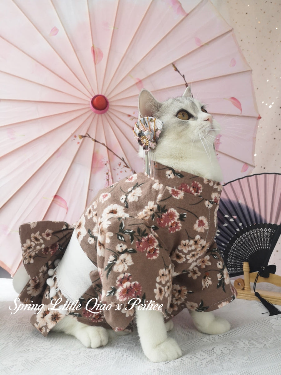 [Qiao Pet Yukata Design] Lets enjoy the hanami meow Yukata set - Peiliee Shop