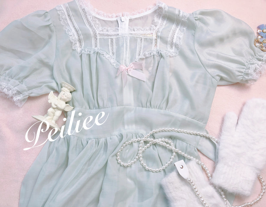 Snow fairy pearl chain fluffy gloves set - Peiliee Shop