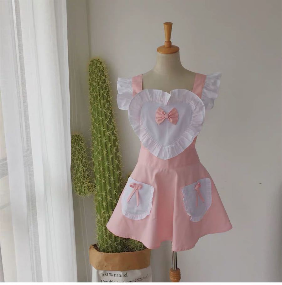 [2 weeks hand sewing time! ]Dolly heart apron - Peiliee Shop