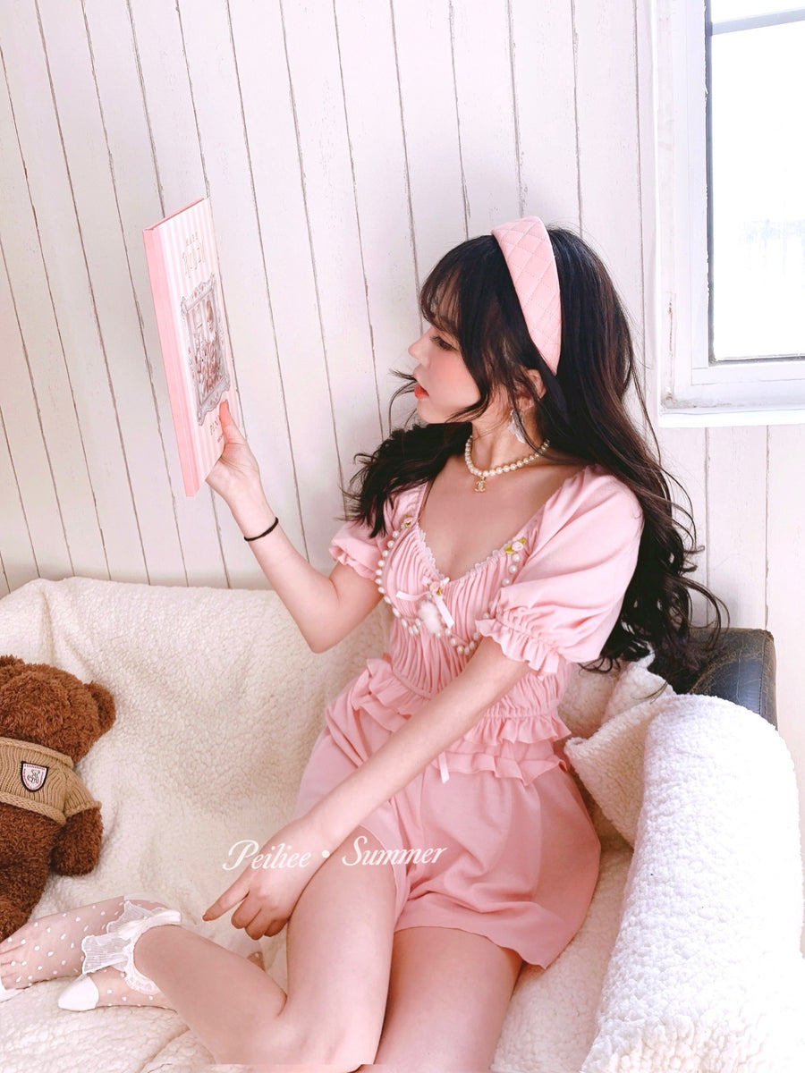 [Premium Selected] Girls from the oil painting loungewear set - Peiliee Shop