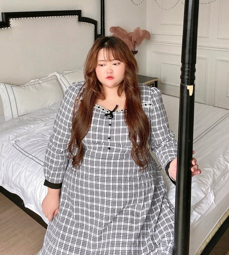 [Curve Beauty] Elegant Lady Autumn Gingham Dress - Peiliee Shop