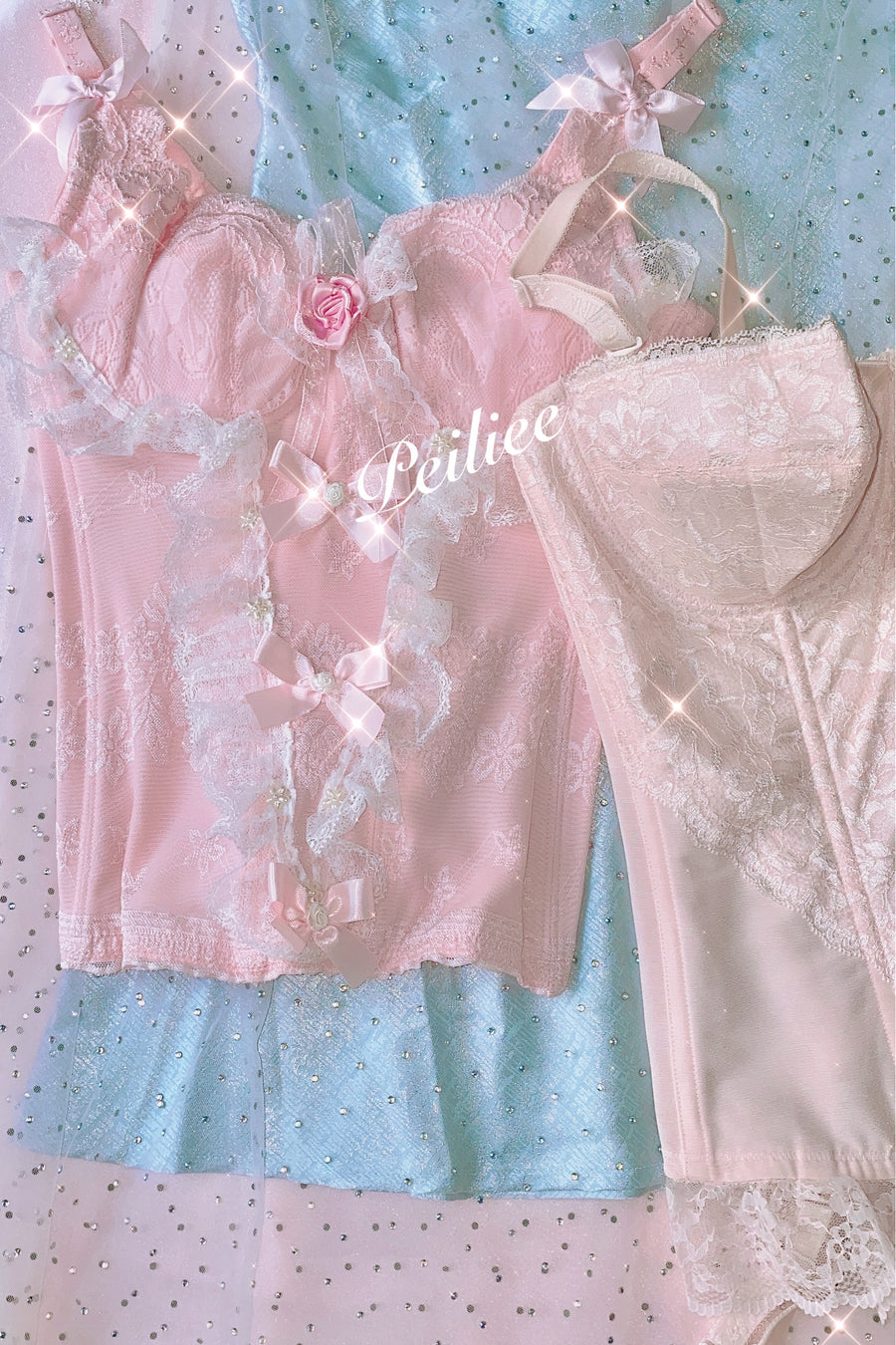 Standard Version No Additional Deco Faded Sakura Doll Handmade Lace Body Corset - Peiliee Shop