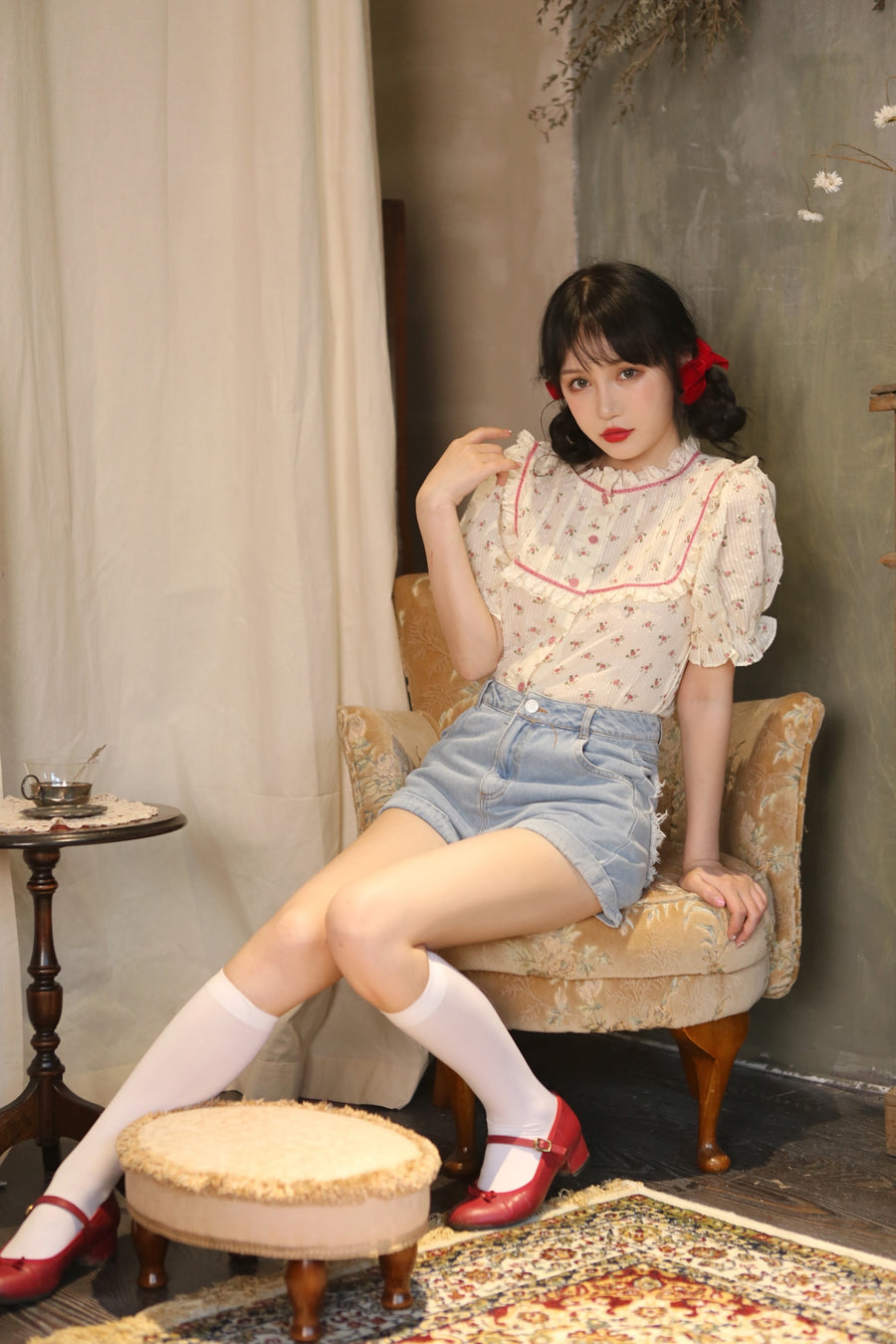 [12 studio] My Mom Made It Floral Cotton and Linen Top - Peiliee Shop