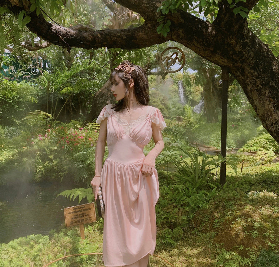 [Premium Selected] Moonlight Waltz Vintage Satin Dress - Peiliee Shop