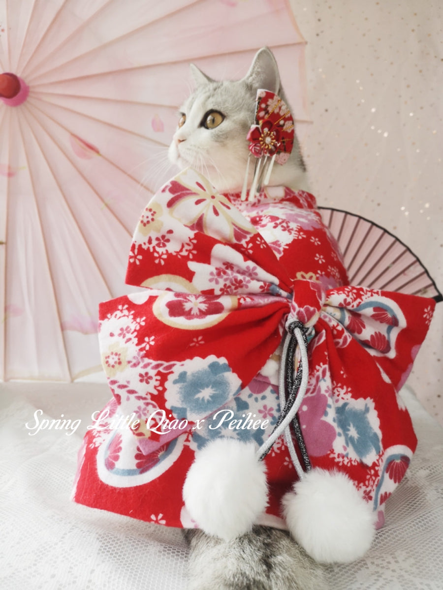 [Qiao Pet Yukata Design] Lets enjoy the hanami meow Yukata set