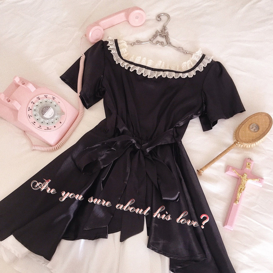 Let's play a cheeky game now - 80s dolly maid satin mini dress - Peiliee Shop