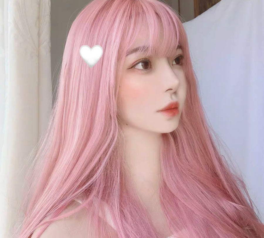 Rose Water Pastel Pink Long Wig - Peiliee Shop