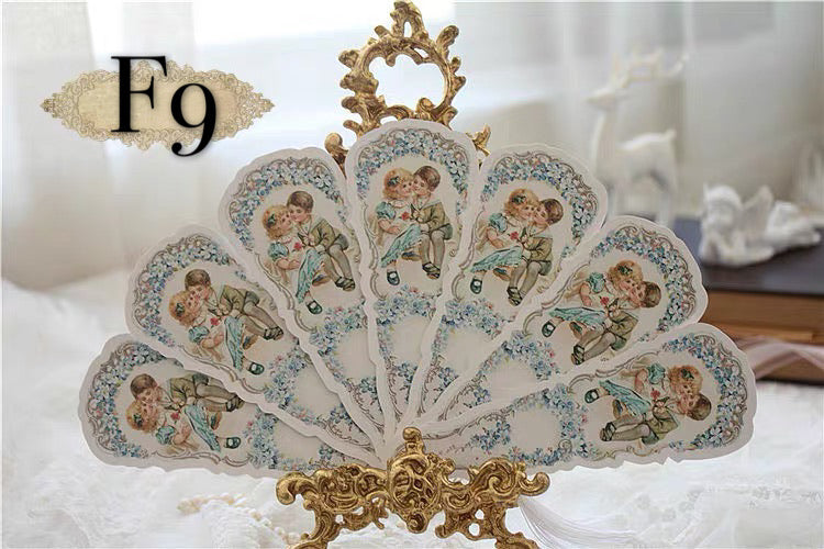 Lady Rouge Medieval Princess Paper Handel Fan - Peiliee Shop