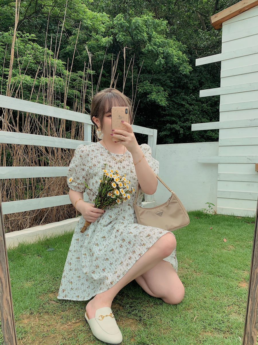 [Premium Selected] Romantic Melody Floral Cotton Dress - Peiliee Shop