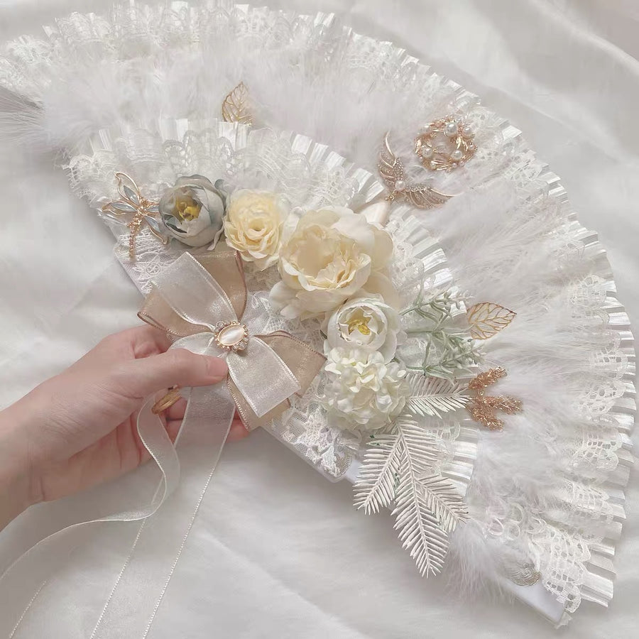 [Handmade] Song of tomorrow floral Lolita Fashion handle fan - Peiliee Shop