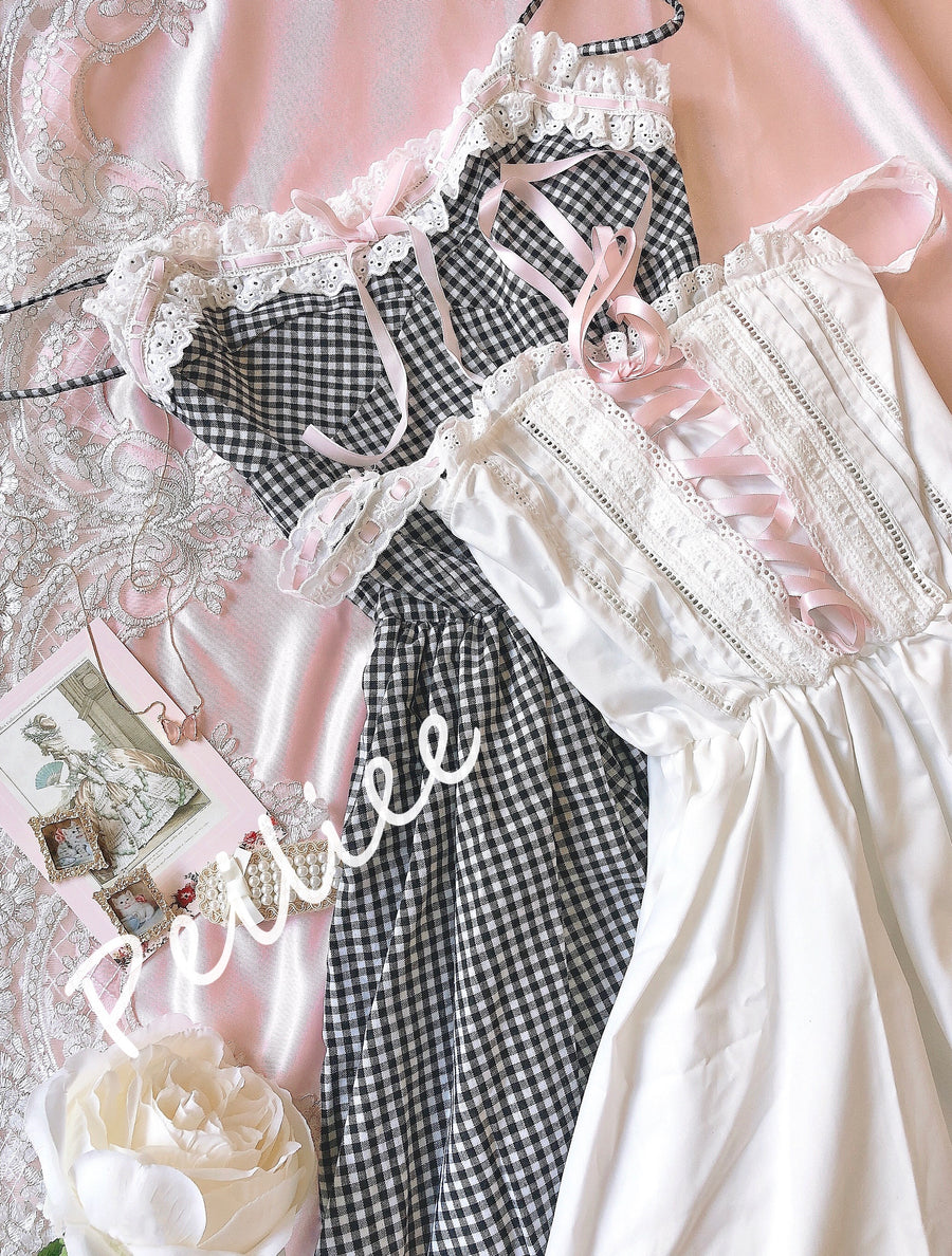 Ballet Dream Babydoll Ballerina gingham dress - Peiliee Shop
