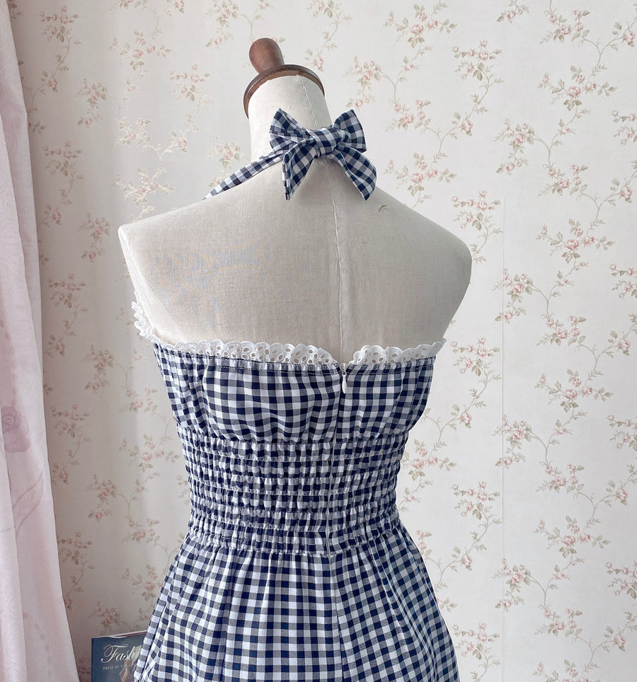 [Customized All Sizes] Sweet Sailor Gingham Babydoll Jumpsuit / dress - Peiliee Shop