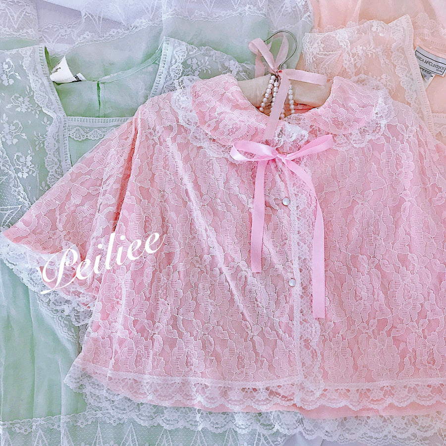 Rosary Moon Vintage Babydoll Lace Cardigan - Peiliee Shop