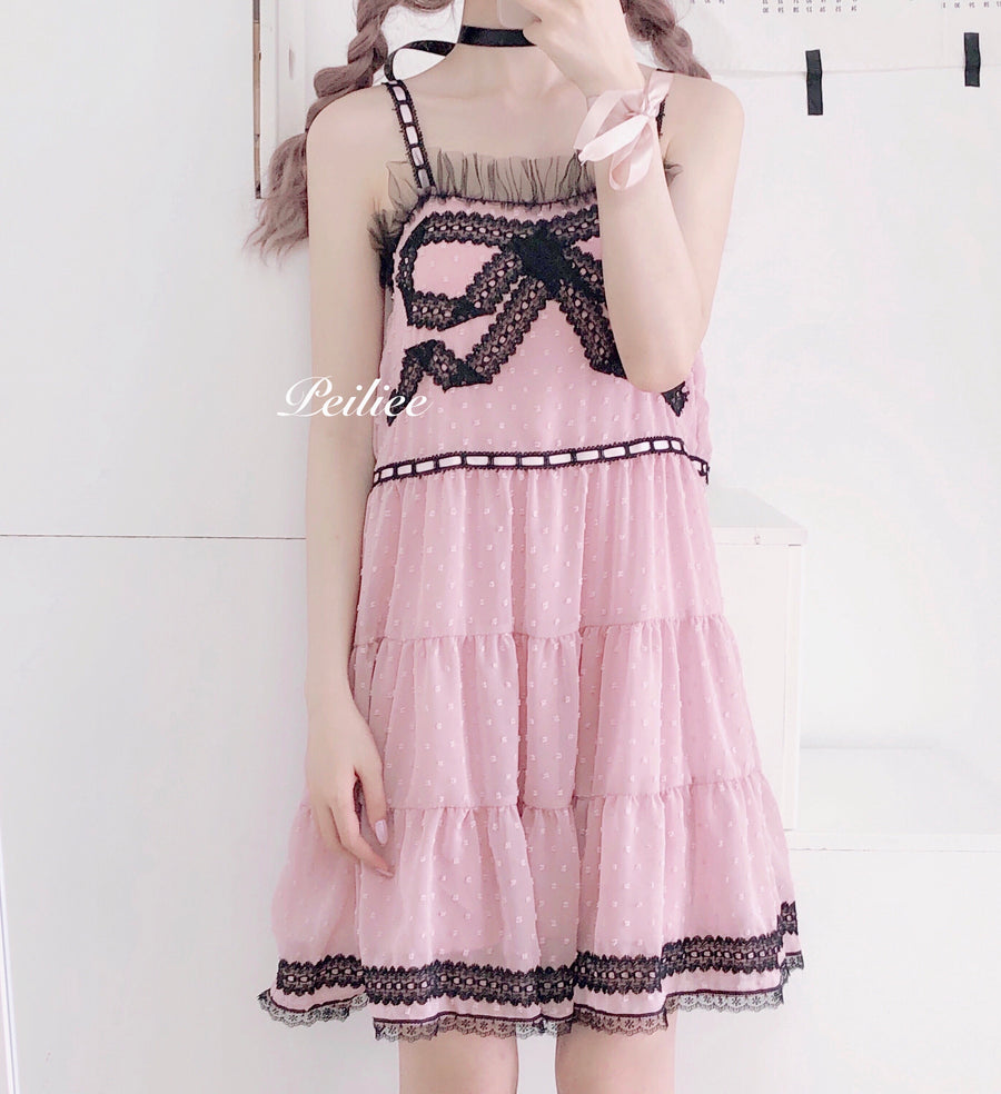 Dolly Charlotta Sweet Ribbon Lace Dress - Peiliee Shop