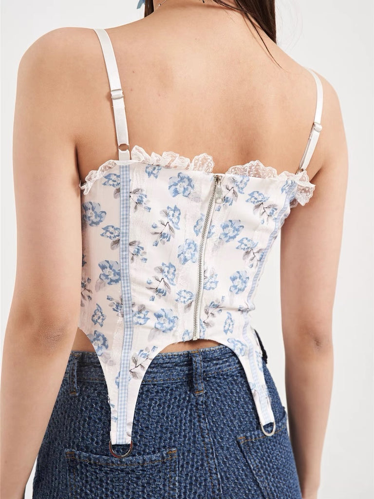 Floral Sea Corset Top (Brand Mummy Cat) - Peiliee Shop