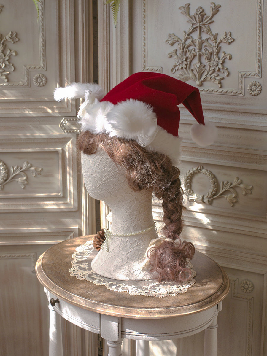 [2020 Version] The Sparkle Time Of The Year - Bun Bun Ear Pom Pom Faux Fur Christmas Hat - Peiliee Shop