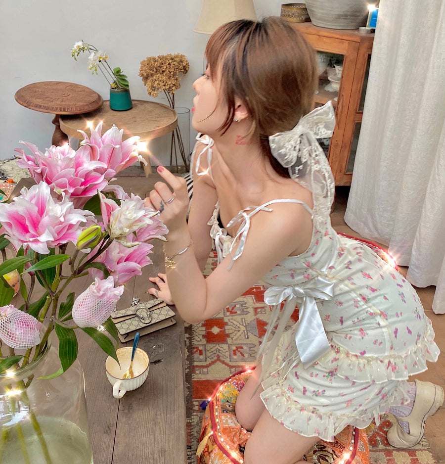 [Limited Edition] Floral Soufflé Mini Dress (designer Arilf) - Peiliee Shop