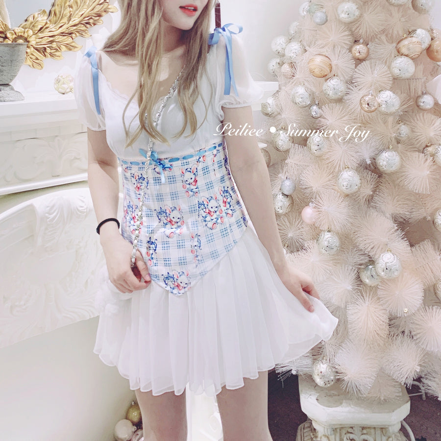 White Forest Bun Bun Dress - Peiliee Shop