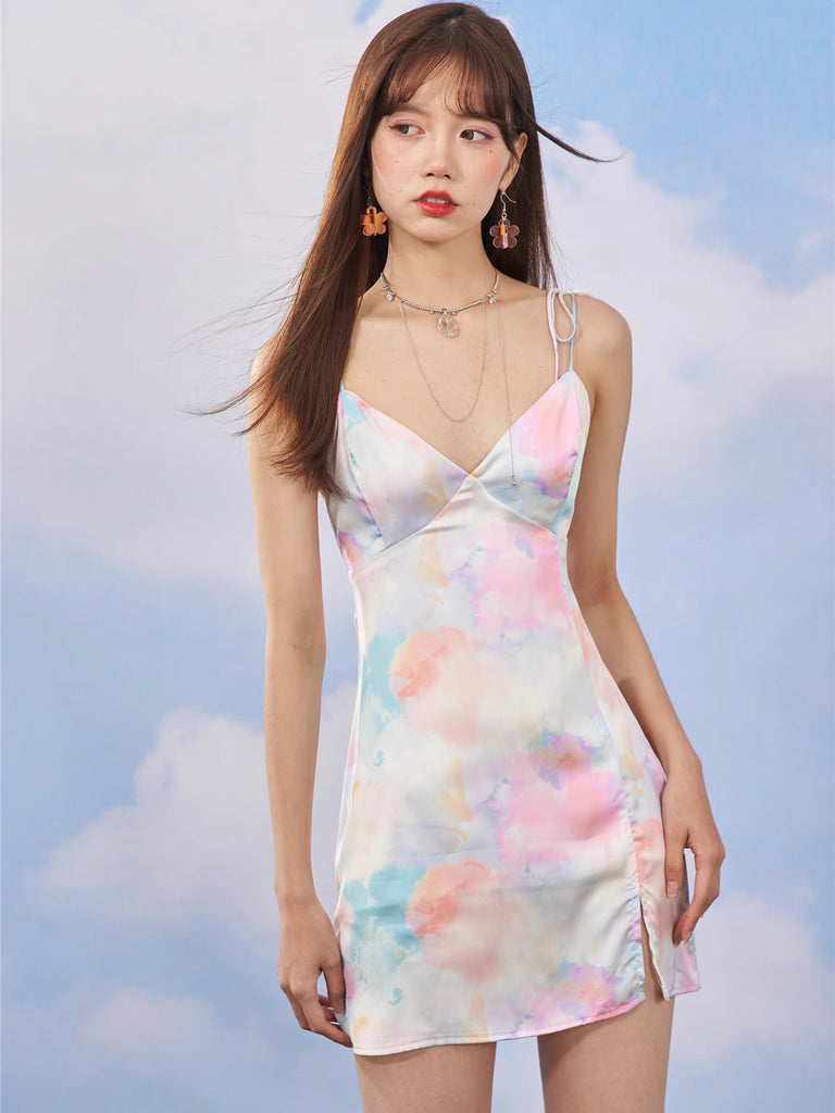 Watercolor Painting Girl Simple Cut A-line beach wear Satin Mini Dress  (Brand Mummy Cat) - Peiliee Shop