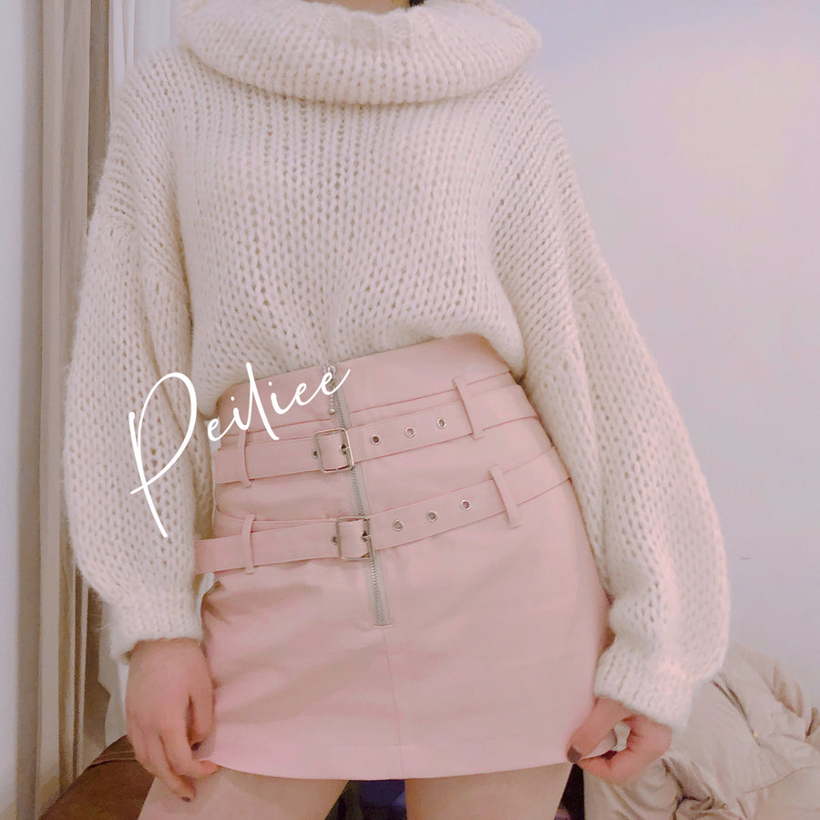 [Nakiss Official] Dolly Mood PU leather Skirt - Peiliee Shop