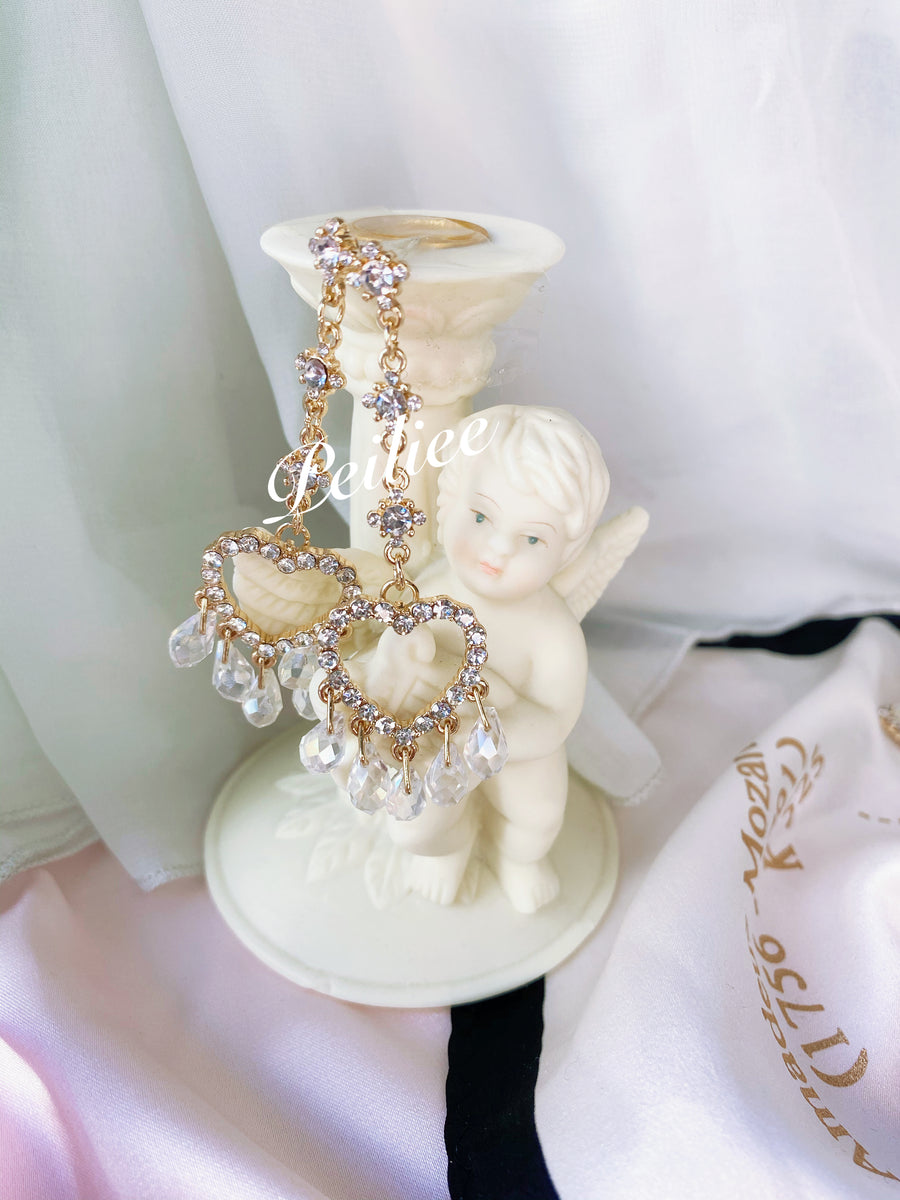 Victorian Crystal Heart earring - Peiliee Shop